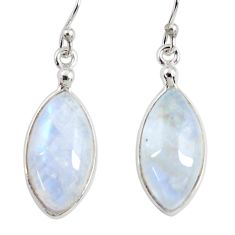 11.98cts natural rainbow moonstone 925 sterling silver dangle earrings r29233
