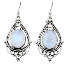8.03cts natural rainbow moonstone 925 sterling silver dangle earrings r30825