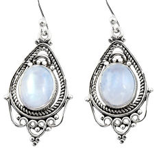 8.05cts natural rainbow moonstone 925 sterling silver dangle earrings r30826