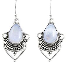 8.51cts natural rainbow moonstone 925 sterling silver dangle earrings r30896