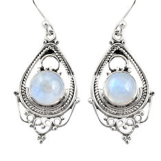 7.23cts natural rainbow moonstone 925 sterling silver dangle earrings r30918