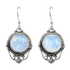 9.05cts natural rainbow moonstone 925 sterling silver dangle earrings r30927