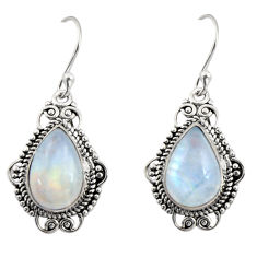9.14cts natural rainbow moonstone 925 sterling silver dangle earrings r30958