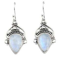8.73cts natural rainbow moonstone 925 sterling silver dangle earrings r30993