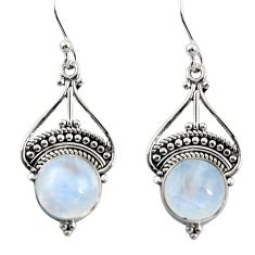 7.07cts natural rainbow moonstone 925 sterling silver dangle earrings r31018