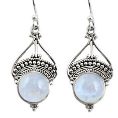 7.09cts natural rainbow moonstone 925 sterling silver dangle earrings r31019
