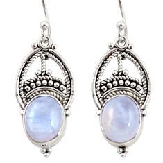 8.24cts natural rainbow moonstone 925 sterling silver dangle earrings r31022