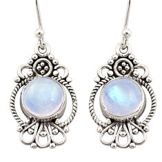 6.21cts natural rainbow moonstone 925 sterling silver dangle earrings r31120