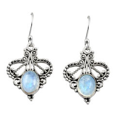 3.98cts natural rainbow moonstone 925 sterling silver dangle earrings r31142