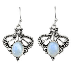 4.28cts natural rainbow moonstone 925 sterling silver dangle earrings r31146