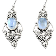 4.20cts natural rainbow moonstone 925 sterling silver dangle earrings r31192