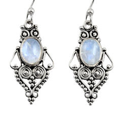 4.06cts natural rainbow moonstone 925 sterling silver dangle earrings r31193