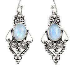 3.83cts natural rainbow moonstone 925 sterling silver dangle earrings r31196