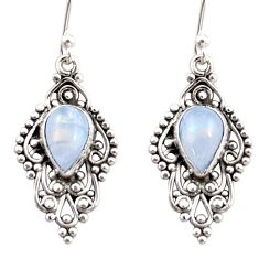 4.67cts natural rainbow moonstone 925 sterling silver dangle earrings r31250
