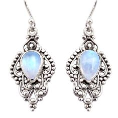 4.67cts natural rainbow moonstone 925 sterling silver dangle earrings r31251