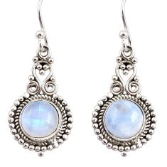 6.61cts natural rainbow moonstone 925 sterling silver dangle earrings r31266