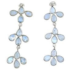 13.57cts natural rainbow moonstone 925 sterling silver dangle earrings r33199