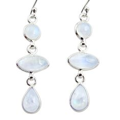 11.93cts natural rainbow moonstone 925 sterling silver dangle earrings r35103