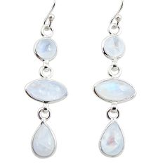 12.52cts natural rainbow moonstone 925 sterling silver dangle earrings r35106