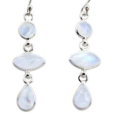 13.13cts natural rainbow moonstone 925 sterling silver dangle earrings r35107