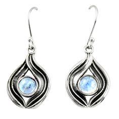 2.62cts natural rainbow moonstone 925 sterling silver dangle earrings r35178