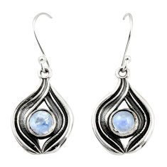 2.62cts natural rainbow moonstone 925 sterling silver dangle earrings r35179