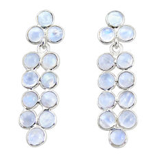 11.17cts natural rainbow moonstone 925 sterling silver dangle earrings r35518