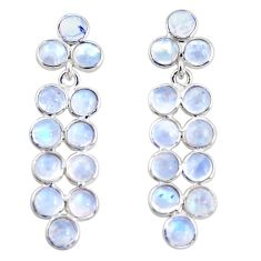 11.23cts natural rainbow moonstone 925 sterling silver dangle earrings r35519