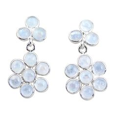 9.72cts natural rainbow moonstone 925 sterling silver dangle earrings r35555