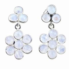 8.70cts natural rainbow moonstone 925 sterling silver dangle earrings r35556