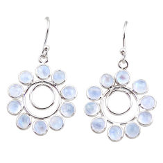 9.57cts natural rainbow moonstone 925 sterling silver dangle earrings r35577