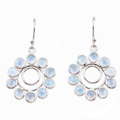 9.53cts natural rainbow moonstone 925 sterling silver dangle earrings r35578
