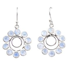 9.72cts natural rainbow moonstone 925 sterling silver dangle earrings r35579