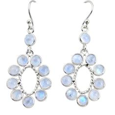 10.08cts natural rainbow moonstone 925 sterling silver dangle earrings r35594