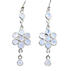 10.08cts natural rainbow moonstone 925 sterling silver dangle earrings r35654