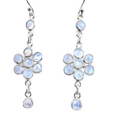9.72cts natural rainbow moonstone 925 sterling silver dangle earrings r35656