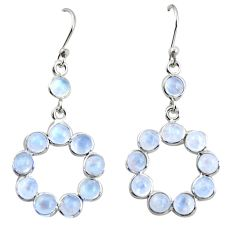 9.22cts natural rainbow moonstone 925 sterling silver dangle earrings r35691