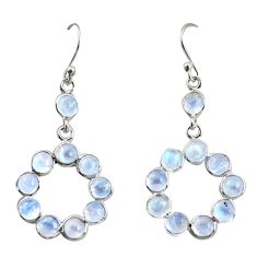9.20cts natural rainbow moonstone 925 sterling silver dangle earrings r35697