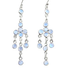 12.58cts natural rainbow moonstone 925 sterling silver dangle earrings r35715