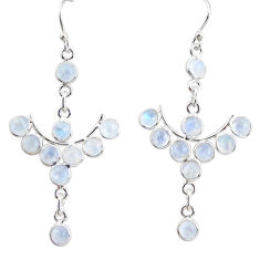 10.97cts natural rainbow moonstone 925 sterling silver dangle earrings r35778
