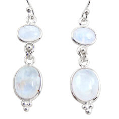 11.73cts natural rainbow moonstone 925 sterling silver dangle earrings r36534