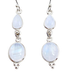 11.73cts natural rainbow moonstone 925 sterling silver dangle earrings r36536