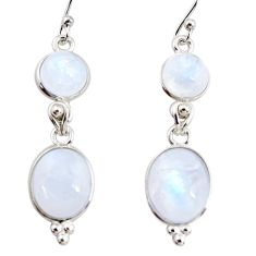 12.18cts natural rainbow moonstone 925 sterling silver dangle earrings r36537