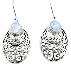 2.44cts natural rainbow moonstone 925 sterling silver dangle earrings r36598