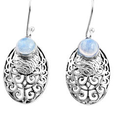 2.47cts natural rainbow moonstone 925 sterling silver dangle earrings r36600