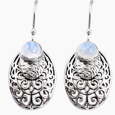 2.85cts natural rainbow moonstone 925 sterling silver dangle earrings r36860
