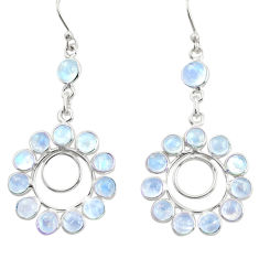 12.19cts natural rainbow moonstone 925 sterling silver dangle earrings r37495