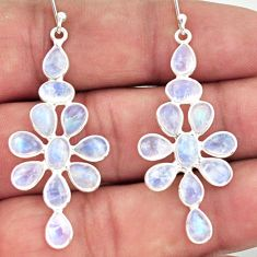 12.96cts natural rainbow moonstone 925 sterling silver dangle earrings r37518