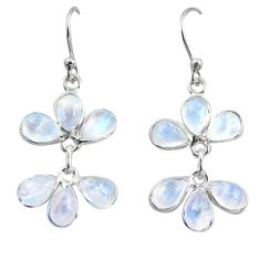 9.48cts natural rainbow moonstone 925 sterling silver dangle earrings r37577