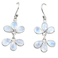 10.50cts natural rainbow moonstone 925 sterling silver dangle earrings r37578